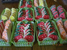 Fun little fruit basket cookies...these would be perfect for a bake sale.