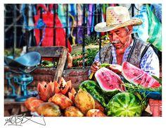 Foto: Don julio, vendedor de frutas – Día de tianguis en la Villa de Zaachila, Oaxaca.