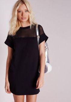 Robe T-shirt noire empiècements en tulle