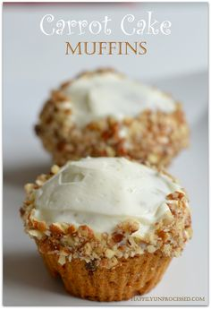 Looking for a #healthy approach to classic #CarrotCake recipe? @happilyunprocessed has the answer. We'll take anything in muffin form, especially when topped with Cream Cheese Frosting.