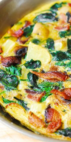 BREAKFAST: Bacon, Potato, and Spinach Frittata. Healthy, gluten free recipe, lots of protein and vegetables! Start your morning right with a healthy frittata recipe that requires just a few vibrant fixings. Bacon Breakfast, Free Breakfast, Breakfast Dishes, Breakfast Recipes, Breakfast Fritata, Breakfast Ideas, Egg Recipes, Brunch Recipes, Gluten Free Recipes