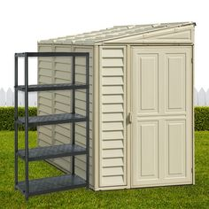 Meet the.Sidemate Vinyl Shed with Foundation Kit x x Made from Durable Resin Easy to assembly & Sits best next to the home or a wall. Great storage solution for any backyard or home which needs a unit but not something too big or clunky Vinyl Sheds, Plastic Sheds, Storage Solutions, Tall Cabinet Storage, Foundation, Resin, Backyard, Meet, Big