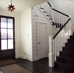 I liked the dark railing to match black doors, and white to match kitchen area