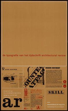 Pieter Brattinga, kantine steendrukkerij de Jong & Co Hilversum de typografie van het tijdschrift architectural review, 1961