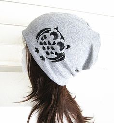 Owl Women Oversized Beanie Hat-Grey-Baggy Hat- Head Wrap- Slouch Cap-Hippie Hat-Unisex on Etsy, $18.75