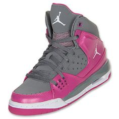 Girls' Grade School Jordan Flight SC 1 Basketball Shoes | FinishLine.com | Black/Purple/Teal