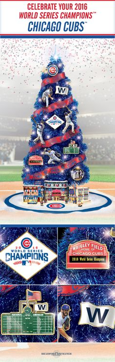 "Fly the ""W"" this holiday season with a Chicago Cubs Christmas tree collection. This handcrafted 3-foot, pre-lit tree honors the teams epic 2016 World Series victory and includes an illuminated stadium sculpture, a free tree skirt and more."