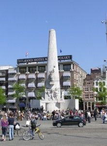 The National Monument at Dam Square, Amsterdam, commemorates those who have died during World War II