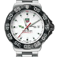 """William & Mary TAG Heuer Watch - Men's Formula 1 Watch with Bracelet by TAG Heuer. $1495.00. Officially licensed by College of William & Mary. Unique TAG Heuer presentation box.. Authentic TAG Heuer watch only at M.LaHart & Co.. TAG Heuer international two-year warranty. Swiss-made Quartz movement.. College of William & Mary TAG Heuer men's Formula 1 watch brings sport and style to W by featuring the """"W"""" logo. Brushed and Polished steel bracelet with double security clas..."""