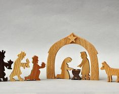 Nativity Figures Mary Joseph Crib Jesus Baby Three Wise Men Kings Christmas Present Wooden Creche Religious Play Holiday Gift