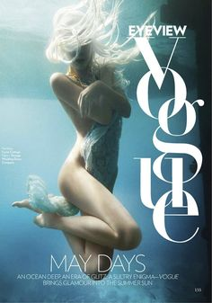 Luis Monteiro captures a splendid mermaid editorial for Vogue India's May issue. Anaita Shroff Adajania styles Jessiann Gravel-Beland in the most literal interpretation of the season's fascination with aquatic life and myths. Editorial Layout, Editorial Design, Editorial Fashion, Vogue Editorial, Vogue India, Underwater Photos, Underwater Photography, Underwater Painting, Poses