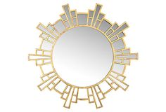 Tina Wall Mirror, Gold on OneKingsLane.com For behind bedside table lamps?
