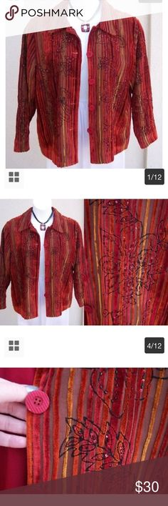 """Coldwater Creek Velvet Sequin Jacket - Rich Colors Simply gorgeous!  Rich Autumn tone colors. Beautiful sequin details! Five coordinating buttons up the front. Fully lined. Smoke free home. Arm length is 23"""". Jacket length is 23 1/2"""". All measurements are approximate. Coldwater Creek Jackets & Coats Blazers"""
