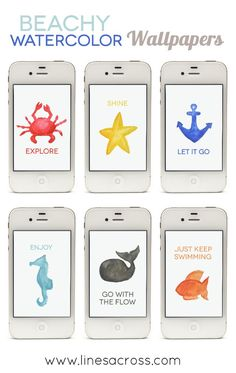 Free Nautical Watercolor iPhone Wallpapers... these are darling!
