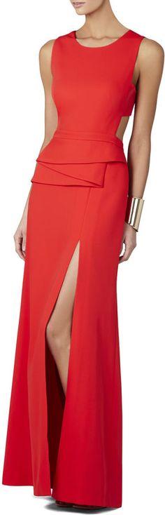 BCBGMAXAZRIA Kiara Sleeveless Peplum Gown on shopstyle.com