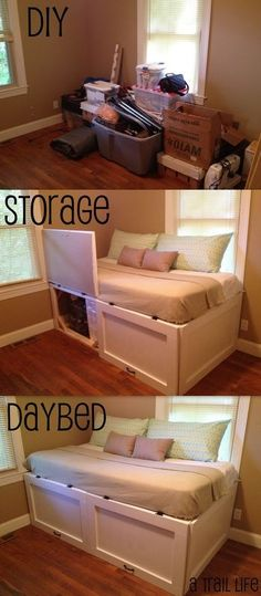 Built In Daybed with Storage Diy Storage Daybed Full Picture Tutorial A Trail Life Guest Diy Storage Daybed, Spare Room Storage Ideas, Diy Daybed, Diy Storage Ideas For Small Homes, Diy Storage Plans, Diy Storage Furniture, Full Daybed, Diy Storage Projects, Diy Furniture Cheap