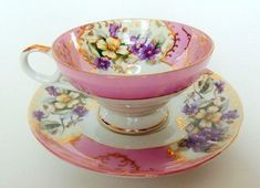 Vintage Lovely Nippon Yoko Boeki Teacup and Saucer on Etsy, CAD Antique Tea Cups, Vintage Cups, Vintage Dishes, Shabby Vintage, Vintage China, Tea Cup Set, My Cup Of Tea, Tea Cup Saucer, Teapots And Cups