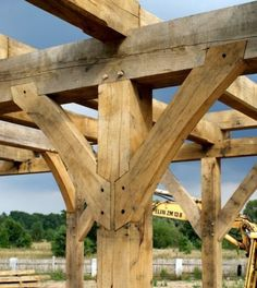 Holzpaste Pergola On Front Of House Timber Structure, Wood Joints, Rustic Home Design, Pergola Canopy, Timber Frame Homes, Timber Frames, Into The Woods, Wood Construction, House Front