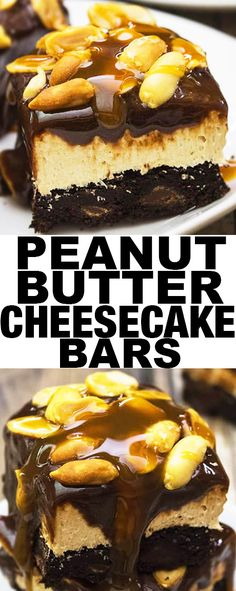 This easy PEANUT BUTTER CHEESECAKE BARS recipe is rich and loaded with chocolate ganache, caramel sauce and peanuts! The perfect sweet and salty bars for dessert {Ad} From cakewhiz.com