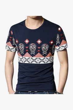 Slim Fit Skulls And Ornament Printed T-Shirt In Navy