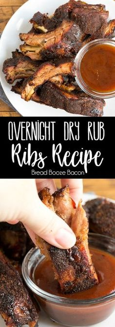 Overnight Dry Rub Ribs are crazy easy to make, loaded with flavor, and fall off the bone tender! Let your oven do the work while you sleep! via (bake ham bone in) Rub For Pork Ribs, Oven Pork Ribs, Ribs Recipe Oven, Boneless Pork Ribs, Oven Baked Ribs, Smoked Pork Ribs, Ribs On Grill, Dry Rub Ribs, Dry Rub Recipe For Beef Ribs
