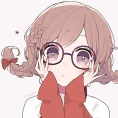 The glasses is too big(? Anime Girl Cute, Beautiful Anime Girl, Kawaii Anime Girl, Kawaii Art, Anime Art Girl, Anime Girls, Anime Chibi, Manga Anime, Kawaii Drawings