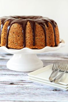 Banana Bundt Cake with Chocolate Ganache | My Baking Addiction