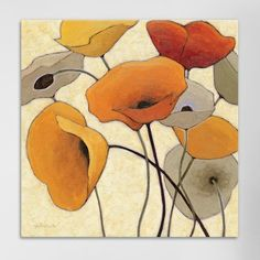 """Alcott Hill Pumpkin Poppies III Painting Print on Wrapped Canvas Size: 18"""" H x 18"""" W x 0.75"""" D"""