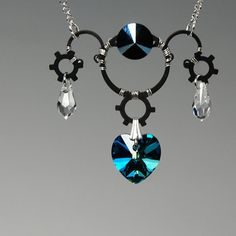 Neptune v12: Industrial wire wrapped necklace with Bermuda blue Swarovski crystals