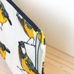 Pochette oiseau mésange charbonnière grande trousse sac