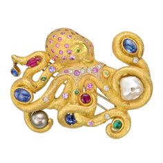 Large Gold & Gem-Set Octopus Brooch   From a unique collection of vintage brooches at http://www.1stdibs.com/jewelry/brooches/brooches/