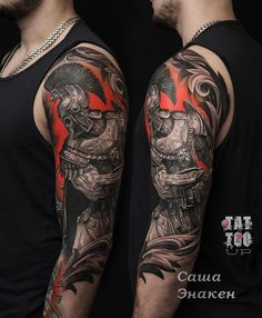 Tattoo Sasha Enaken - tattoo's photo In the style Realistic, Male, Warrio Best Sleeve Tattoos, Tattoo Sleeve Designs, Hand Tattoos, Tattoo Ink, Warrior Tattoos, Viking Tattoos, Norse Tattoo, Samurai Warrior Tattoo, Upper Shoulder Tattoo