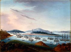 Whampoa Anchorage, ca.1810, 3rd from set of 4 (Macau, Bocca Tigris, Whampoa, Canton), Oil on copper, China, unknown artist, PEM      Whampoa Anchorage, ca. 1810    Peabody Essex Museum 2007 Photo Jeffrey R. Dykes