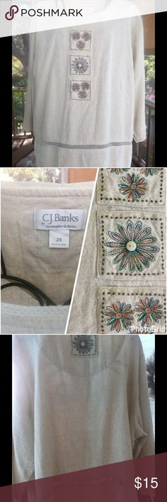 """2X 🌺🌺C.J.Banks Linen Rayon Top About 24"""" long. 3/4 length sleeves. 27"""" from pit to pit. 55% Linen and 45% Rayon. Gorgeous embroidered and lace features. Loose fitting 2X. The back is as pretty as the front. Great condition. CJ Banks Tops"""