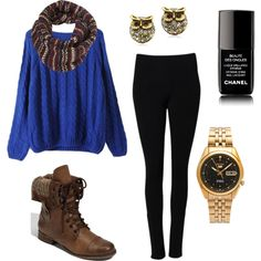 """blue sweater with leggings for winter"" by addiwood on Polyvore"