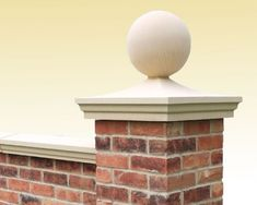 Cast stone pier caps for gate piers, balustrading piers and garden walls. They usually match the style of Coping stone used. Garden Wall, Front Gates, Brick Columns, Pillar Design, House Gate Design, Driveway Entrance, Brick Wall Gardens, House Entrance, Front Gate Design