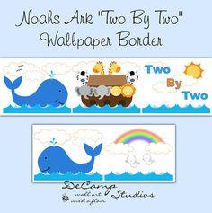noah s ark wallpaper border wall decals for baby girl or boy nursery
