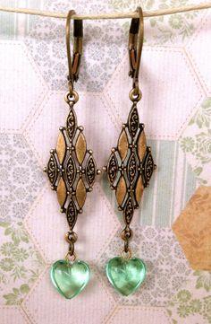 Sophie. art deco,vintage green heart drop earrings. Tiedupmemories