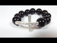 how to make a beaded strechy sideways cross bracelet.  All the supplies I used to make this pretty and simple to make bracelet are found on my shop http://www.texasfindingsNmore.etsy.com Use coupon code YOUTUBE10 for 10% off
