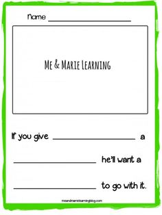 """#FREE Preschool Writing Template to use with Laura Numeroff's """"If you Take a Mouse to School"""""""