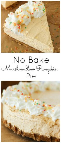 No Bake Marshmallow Pumpkin Pie A smooth, creamy no bake pie with warm pumpkin spices and sweet marshmallow flavors. Mini Desserts, Holiday Desserts, No Bake Desserts, Just Desserts, Delicious Desserts, Dessert Recipes, French Desserts, Holiday Pies, Holiday Meals