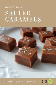 These salted caramels are soft, chewy and perfectly melt away in your mouth. The Honey Jack really gives you a nice little kick in the sweet tooth! Caramel Treats, Caramel Recipes, Candy Recipes, Chocolate Recipes, Fall Recipes, Sweet Recipes, Dessert Recipes, Caramel Fudge, Holiday Recipes