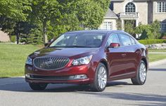 """2014 Buick LaCrosse 1SL AWD with Baroque Red Metallic exterior color and 19"""" Alloy Wheels. ¾ front view"""