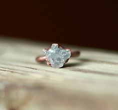 Raw Crystal Ring Celestite Ring Raw Stone by AmandaLeilaniDesigns