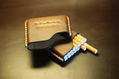 Handmade Leather cigarette case Christmas gift Gifts for Leather Cigarette Case, Leather Tutorial, Cigarette Holder, Smoking Pipes, Briefcases, Leather Bags Handmade, Leather Projects, Leather Working, Hand Sewing