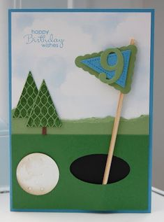 Julie Kettlewell - Stampin Up UK Independent Demonstrator - Order products Pennant Parade for golf fans! Masculine Birthday Cards, Masculine Cards, Golf Birthday Cards, Golf Cards, Punch Art Cards, Fathers Day Cards, Creative Cards, Kids Cards, Cute Cards