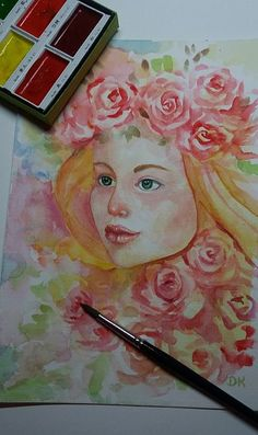 """My watercolor picture """"Roses"""" Art Craft Store, Craft Stores, Watercolor Pictures, Photography And Videography, Womens Clothing Stores, Watercolour Painting, People Like, Art Pictures, Decoupage"""
