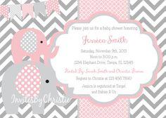 Rosa y gris elefante bebé ducha invitación por InvitesByChristie