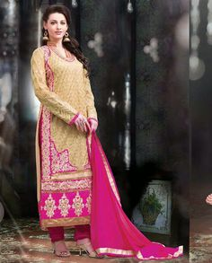 Beige and pink golden embroidered long suit   1. Beige and pink embroidered georgette long suit2. Comes with matching bottom and dupatta3. Can be stitched upto size 42  inches