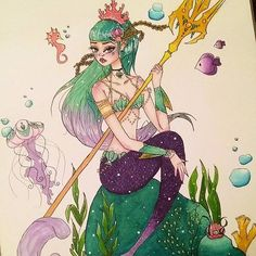 Gorgeous mermaid piece by @elcieart using their Chameleon Pens! #mermaid #art #artwork #drawing #illustration #colour #color #colouring #coloring #pen #marker #alcoholmarkers #chameleonpens